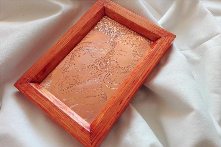 Grawerowany ręcznie obrazek Świętej Rodziny